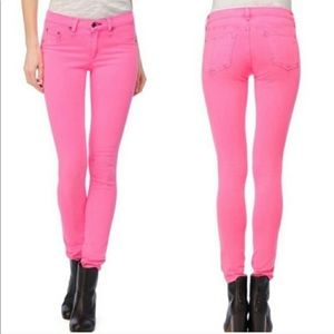 Rag and Bone Neon Pink Mid Rise Legging Jeans